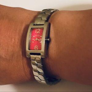 Michael Kors Stainless Steel Rectangular Watch Red